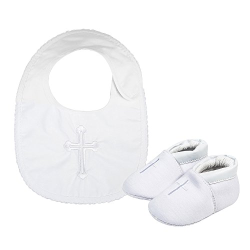 Baby Boys Premium Soft Sole Cross Christening Baptism Slipper Shoes with Embroidered Cross Bib, 2 Pack 3-6 Months