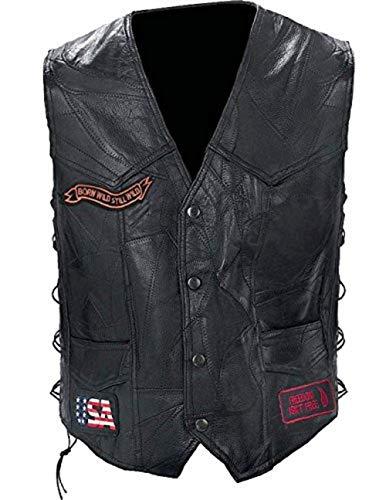- Diamond Plate Rock Leather Bike VEST-M Black