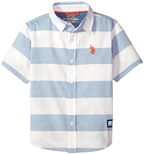 U.S. Polo Assn. Boys' Toddler Short Sleeve Sport Shirt, White Stripes Woven Fleece Blue, 2T ()