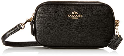 Coach Pebbled Leather Convertible Crossbody Pouch Clutch Purse Handbag (Black) (Coach Small Handbags Crossbody)