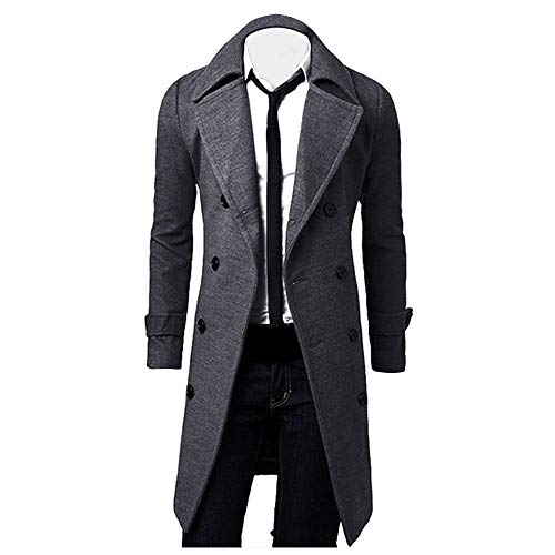 Rambling New Men's Winter Trench Coat Quality Stylish Gentlemen Long Pea Coat Overcoat Grey