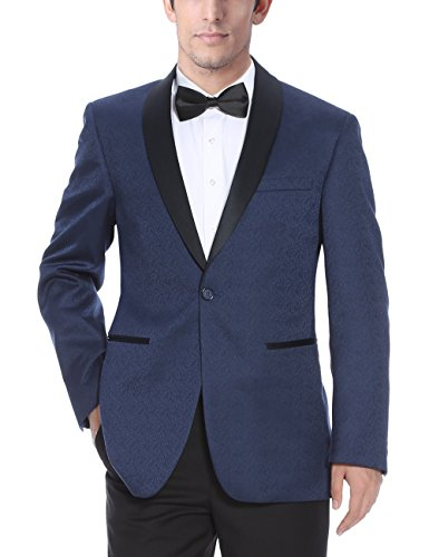 Chama Mens Black & Navy Blue Textured Tuxedo Dinner Jacket Blazer with Shawl Collar (Navy, 34S) (Textured Suit Jacket)