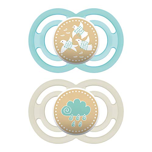 MAM Pacifiers, Baby Pacifier 6+ Months, Best Pacifier for Breastfed Babies, Premium Comfort and Oral Care Perfect Collection, Unisex, 2-Count