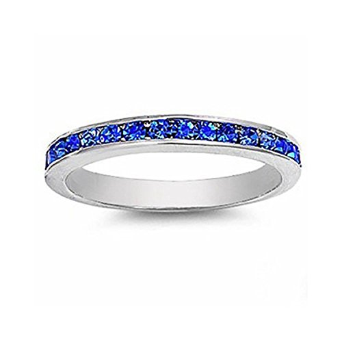 3mm Channel Set Full Eternity Wedding Band Ring Round Simulated Blue Sapphire 925 Sterling Silver, Size-6 ()
