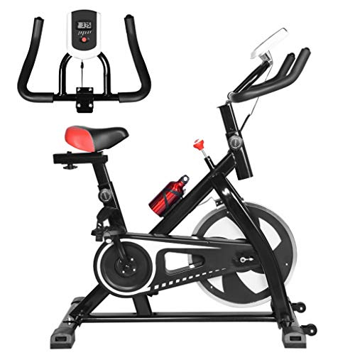 Indoor Fitness Bicycle - Stationary Belt Drive Indoor Cycling Bike Ultra-quiet Exercise Bike Home Bicycle Fitness Equipment with Adjustable Handlebar for Home Cardio Workout (Black, USA)