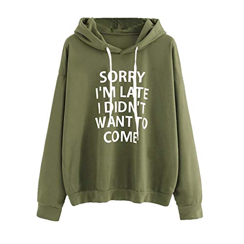 LEXUPA Women O-Neck Hoodie Jumper Long Sleeve Letter Print Sweatshirt Pullover Tops (Large,ArmyGreen)
