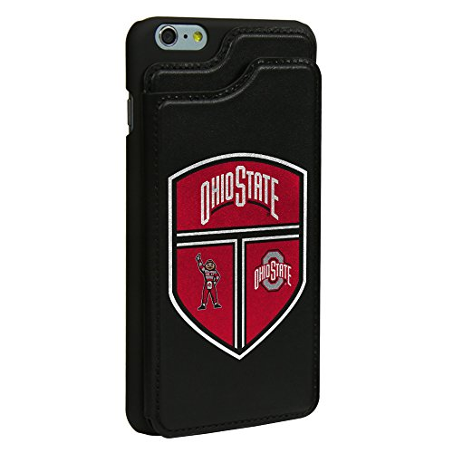 Ohio State Buckeyes Genuine Leather Wallet Case for iPhone 6 Plus / 6s Plus with Guard Glass Screen Protector - State Leather Iphone Case
