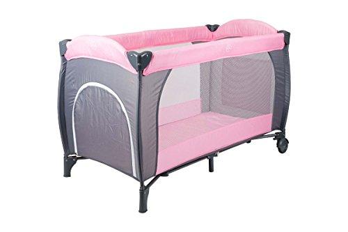 Kinderreisebett Kinderbett mit Moskitonetz, Matratze und Schlupfloch Klappbett Babyreisebett Farbvarianten (Rosa)