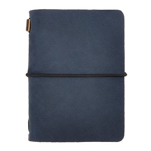 ZLYC Vintage Handmade Refillable Leather Passport Size Travelers Journals Diary Notepad Notebook (Navy)