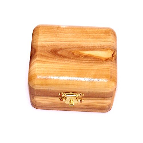 Wood Rosary Box - Handcarved Holy Land Olive Wood Rosary Jewelry Box by Bethlehem Gifts TM (Regular)