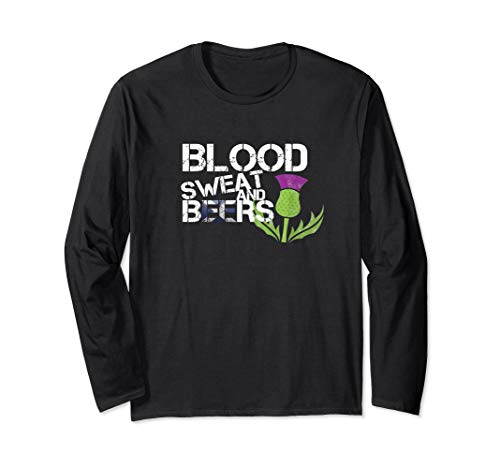 Blood Sweat Beers Long Shirt Scotland Flag Rugby Six Nations