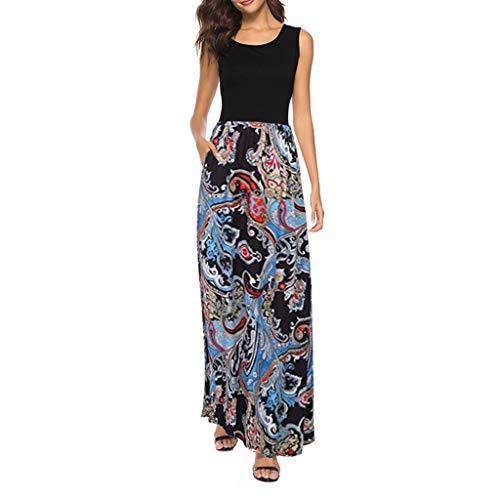 Maxi Dresses for Women, Summer Boho Sleeveless Round Neck Floral Print Long Dress with Pockets (Black, XL)