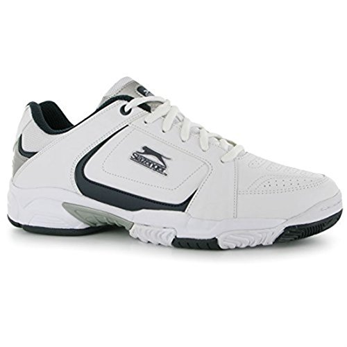 Slazenger Mens Gents Tennis Sport Shoes Trainers Perforation Hole Laced Footwear White/Navy Vbk3uc