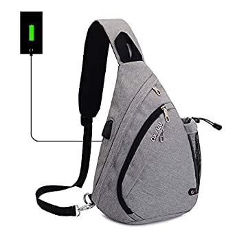 Sling Backpack Chest Shoulder Bag Vodabang Casual Crossbody Shoulder Triangle Packs Daypacks for Men Women Canvas Digital Camera Bags with Charging Port for Sport Outdoor Gym Travel Hiking (Grey)