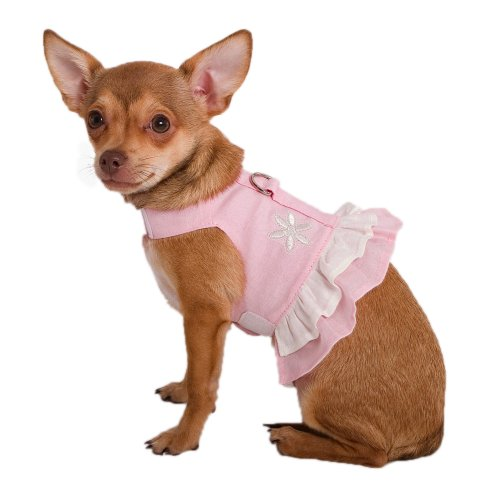 Doggles Pet Dog Teacup Pink Hemp Costume Clothes Dress Harness with Flower