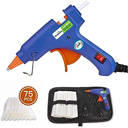Pistola Silicona, Dweyka Mini Pistola de Pegamento 20W, viene una Bolsa y 75 Psc Barras para Manualidades DIY, Arte, Reparaciones, decoración del Festival