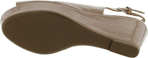 City Classified Womens Alina Fashion Sandals,Nude Patent Pu,8