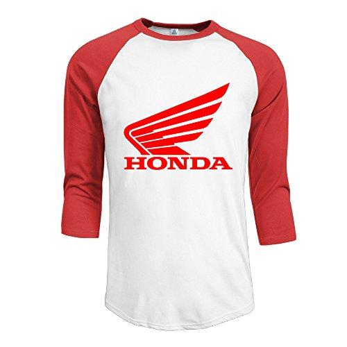 R Hot Men's Honda Logo Jersey Baseball T Shirt Neck Cotton Blend 3/4 Red