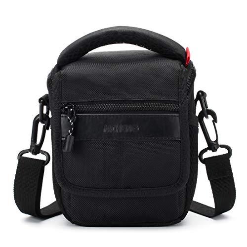 MCHENG Shock Resistant Shoulder Camera Bag for Canon EOS Rebel SL1 M6 M50 PowerShot SX420 IS / Nikon 1 J5 COOLPIX A900 B500 / SONY A5100 A6500 Cyber-Shot DSC-HX90V / OLYMPUS OM-D E-M10 Mark II, Black (Olympus Canon Powershot)