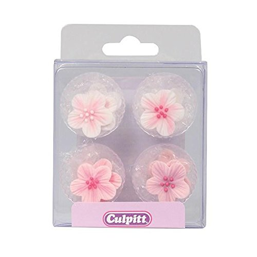 Pink Flower Sugar Toppers - 12 Pack -