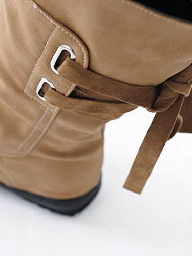 Sikye Dames Low Wedge Chaussures Boucle Biker Cheville Garniture Plat Womens Mi-mollet Bottes Marron