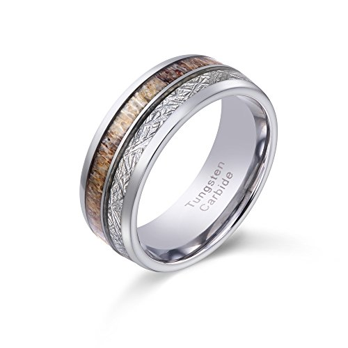 POYA 8mm Tungsten Wedding Band Mens Hunting Ring with Antler and Imitated Meteorite Inlay