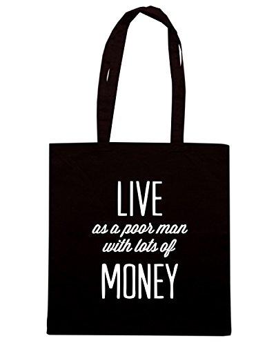 T-Shirtshock - Bolsa para la compra CIT0150 live as a poor man with lot of money Negro