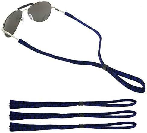 GikPal Adjustable Eyewear Retainer, Universal Fit Rope Eyewear Retainer, Sport Unisex Sunglass Retainer Holder Strap, Set of 3 (Blue+Black)