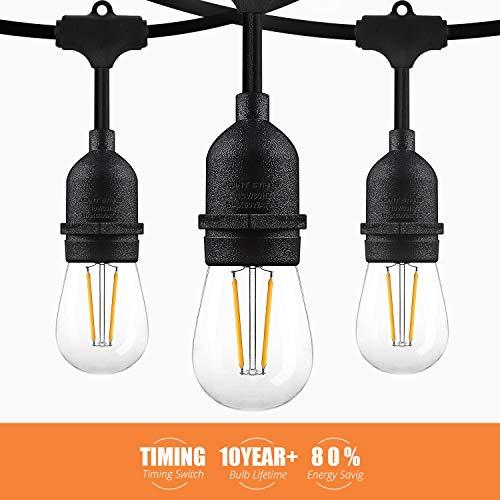 JOINT STARS 48ft LED Outdoor String Lights, Outside Decorative Globe Edison Bulb Hanging Lighting Light, for Patio, Deck, Garden, Backyard, Porch, Black (Outside Decorative Lighting)