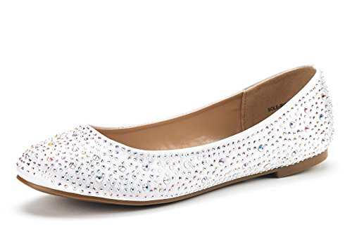 DREAM PAIRS Women's Sole-Shine White Rhinestone Ballet Flats Shoes - 7.5 M US -