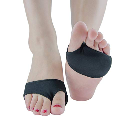 Welnove - Metatarsal Gel Pads 2 Hole Forefoot Cushion Ball of Foot Cushion Reusable for Mortons Neuroma Heels and Foot Pain - 2 Pieces Black L
