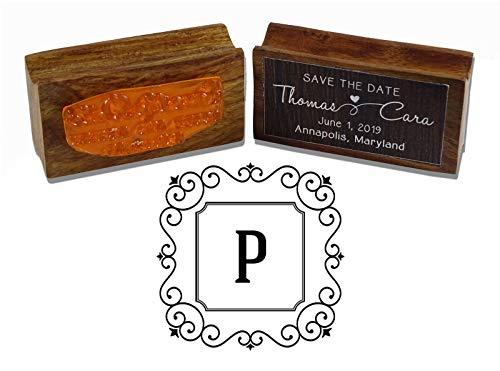 (Printtoo Square Swirl Border Letter P Initial Uppercase Monogram Wood Mounted Rubber Stamp)