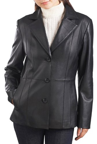 (BGSD Women's Crystal New Zealand Lambskin Leather Blazer - L Black)