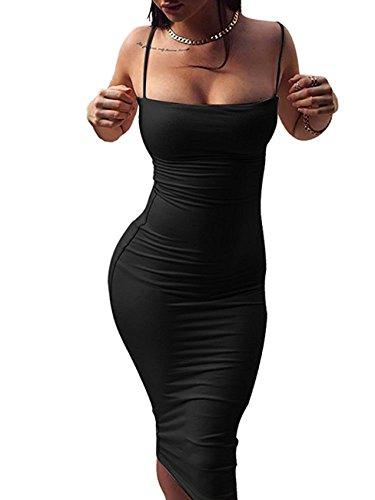 Doramode Woman's Spaghetti Strap Sleeveless Backless Slim Waist Wrap Midi Solid New Sexy Club Party Dress Black XL