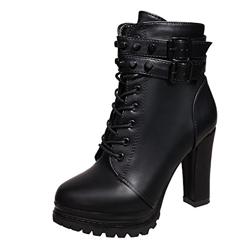 Inornever Women's Chunky High Heel Ankle Booties Fashion Buckle Platform PU Military Combat Boots