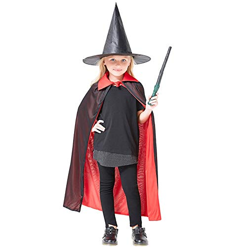 LCMJ WS Halloween Costumes Wizard Hat Cloak Suit for Kids Black Red for Party Cosplay (Size : 140cm) ()