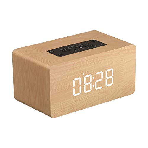 Mbtaua-Sound Portable Speaker Double Speakers Wood Wireless Bluetooth Speaker Clock FM Support Outdoor Bluetooth Speaker Yellow