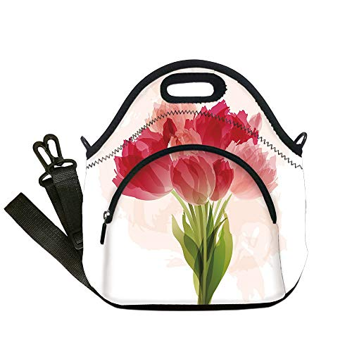 Insulated Lunch Bag,Neoprene Lunch Tote Bags,Floral,Watercolor Painting Bouquet of Tulip Flower Artistic Botanical Romantic Print,Pink Coral Green,for Adults and children ()