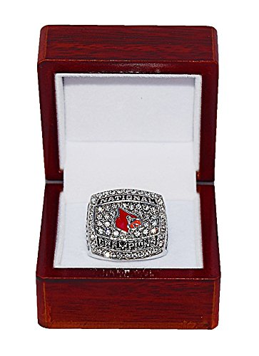 UNIVERSITY OF LOUISVILLE CARDINALS (Peyton Siva) 2013 NCAA NATIONAL CHAMPIONS (Final Four Atlanta) Rare & Collectible Replica NCAA Basketball Silver Championship Ring with Cherrywood Display Box Trackside Autographs