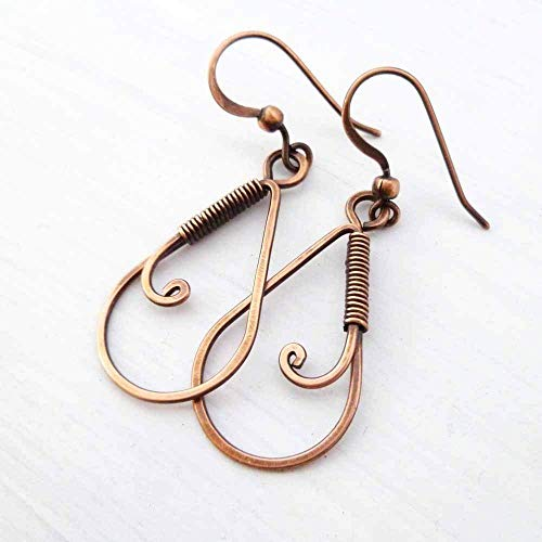 (Handmade Copper Wire Wrapped Teardrop Earrings)