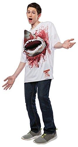 Rasta Imposta Men's Sharknado - Teen T-shirt with Shark, White/Red, Teen/Juniors ()
