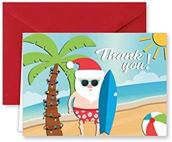 Paper Frenzy Surfing Santa Tropical Beach Christmas Holiday Thank You Note Cards with Red Envelopes 25 pack