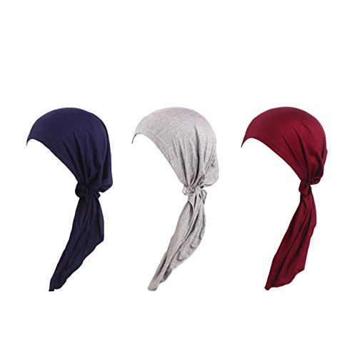 Tied Scarf Fashion (3 Pack Women's Chemo Hat Turban Head Scarves for Cancer Patient (Navy, Grey, Wine Red))
