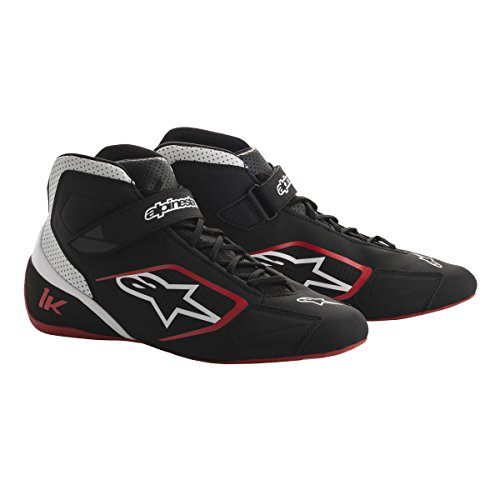 Racing Alpinestars Shoes - Alpinestars 2712018-123-9.5 Tech 1-K Shoes, Black/White/Red, Size 9.5