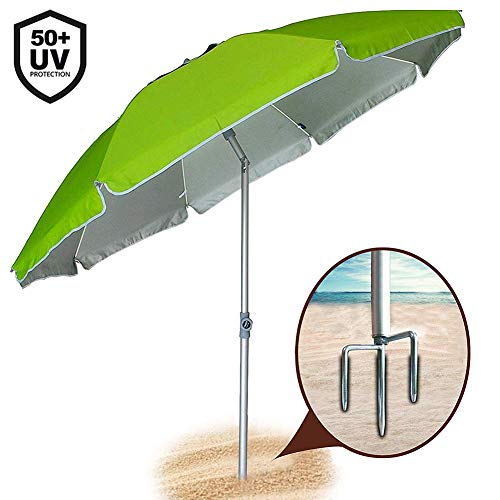 Offerte Ombrelloni Da Spiaggia.Bakaji Ombrellone Da Mare Spiaggia Giardino 210 Cm Con Palo In Alluminio Rivestimento Tessuto Anti Uv Con Tracolla Custodia Verde 210