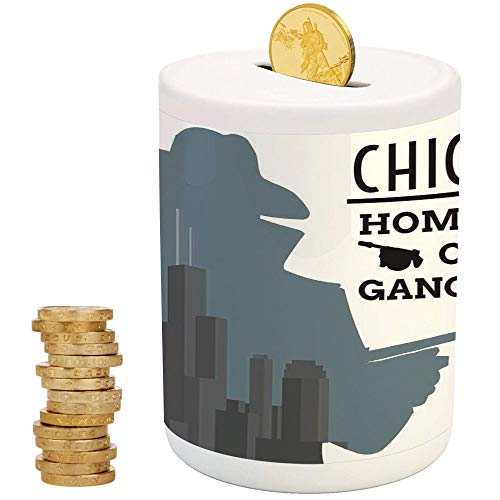 Vintage Decor,Ceramic Girls Bank,Printed Ceramic Coin Bank Money Box for Cash Saving,Double Exposure of Gangster with Gun on Chicago Skyscrapers Homeland of Mafia -