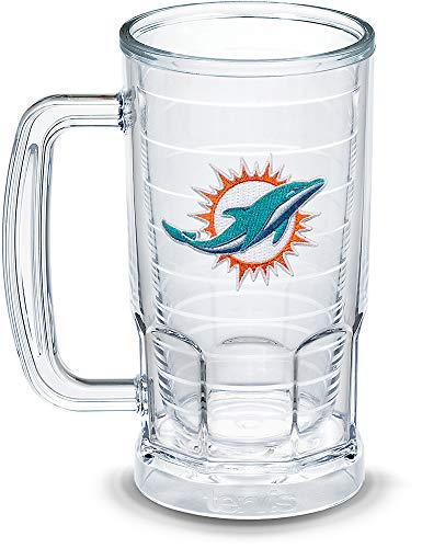 Tervis 1303299 NFL Miami Dolphins Primary Logo Insulated Tumbler with Emblem, 16oz Beer Mug, Clear