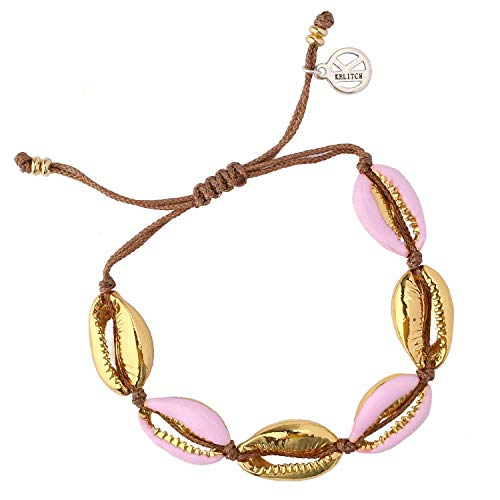 KELITCH Natural Shell Gold Shell Cowry Beaded Friendship Bracelets Boho Fashion Beach Seashell Strand Bracelets Women Jewelry (Pink)