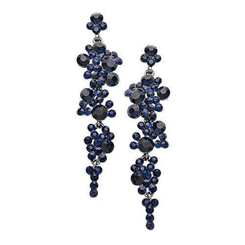 Rosemarie Collections Women's Crystal Rhinestone Bubble Dangle Statement Earrings (Montana Blue/Gun Metal)