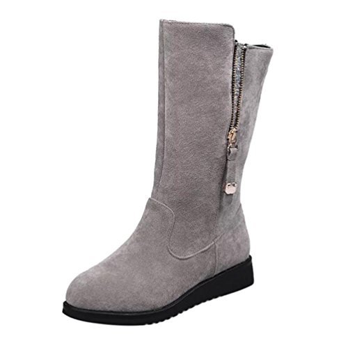 Creazy Women Buckle Ladies Faux Warm Bling Knight Boots Flat Martin Shoes (Gray, 40)